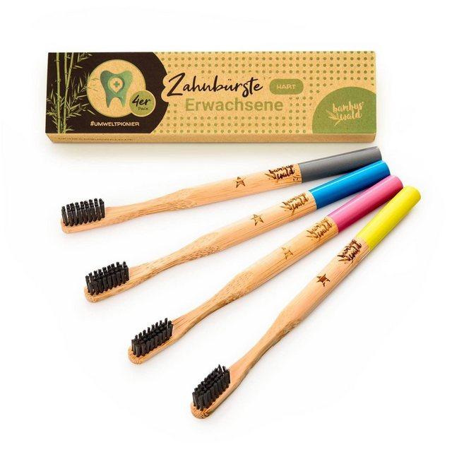 Bambuswald Zahnbürste aus Bambus hart 4 Stück