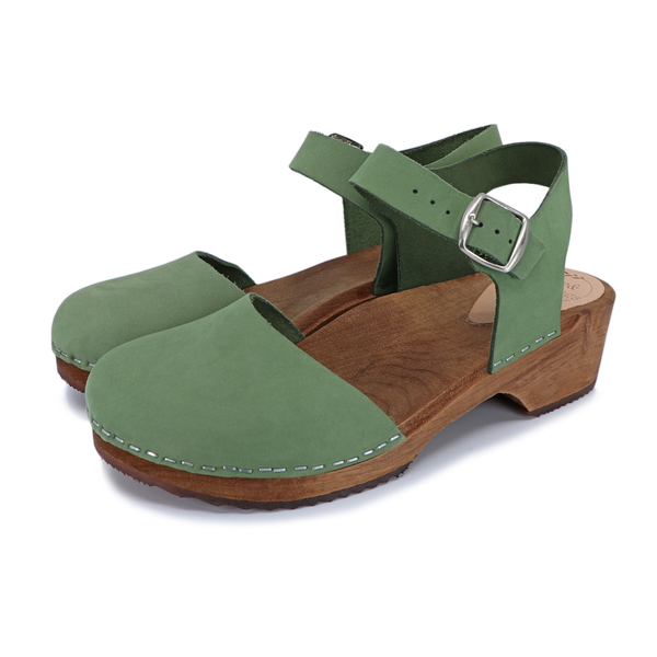 Holz Clogs Sandale Freja Low Heel