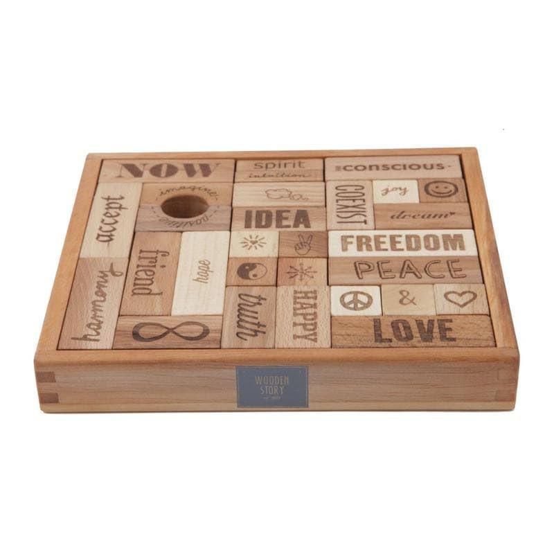 Wooden Story Holzklötze Love Peace 29 Teilig