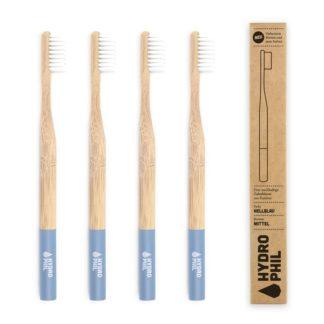 Zahnbürste Aus Bambus Mittelweich 4 Stück Hellblau